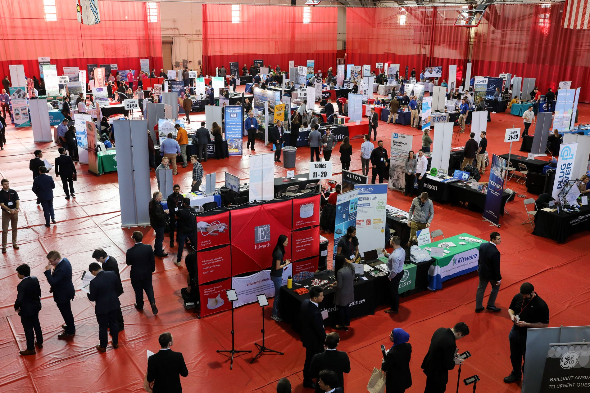 A view of the Career Fair from above showcasing companies booths.