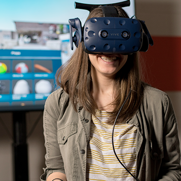 Student using a virtual reality headset