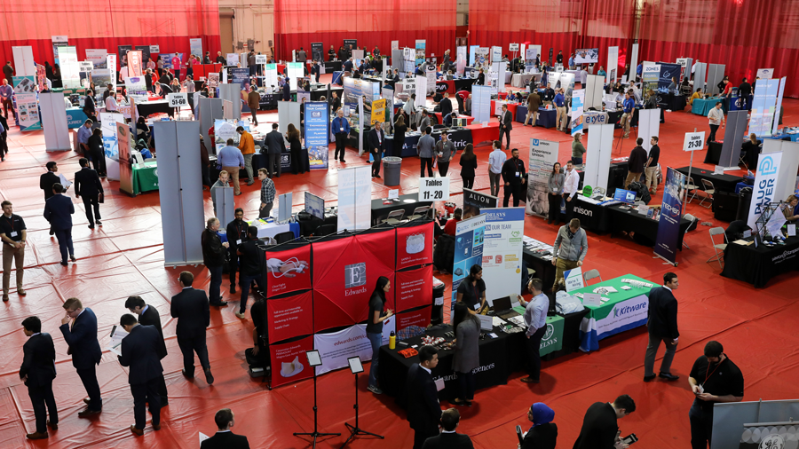 Arial photograph of the RPI Career Fair showing Employer booths